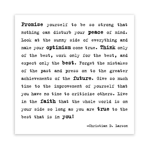 Make Your Optimism Come True - Christian D. Larson Black and White Magnet