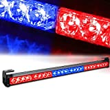 "Xprite 27"" 24 LED Red & Blue 7 Modes Traffic Advisor Emergency Warning Vehicle Strobe Light Bar Kit"