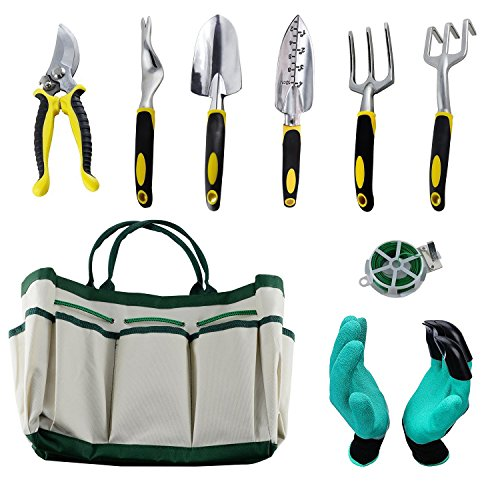 HmiL-U Garden Tool Sets 9 piece Gardening tool with Plant Tie- Garden Tote and Garden Gloves and more Christmas gifts for your parents. by HmiL-U