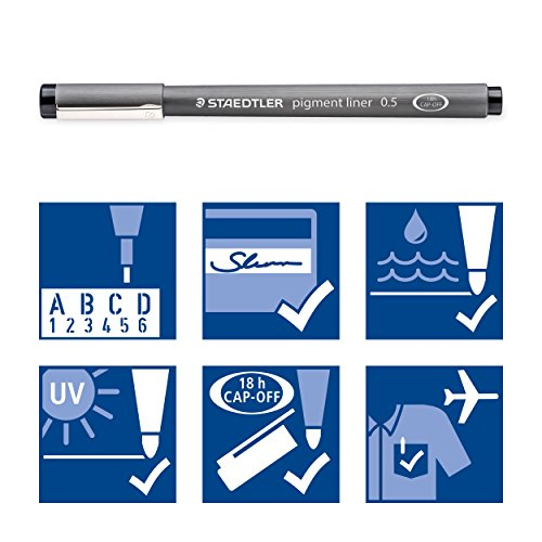 Staedtler 308 SB6P VE Pigment Liner 308 16 x 6 (4+2 Free) Black Pigment Ink Felt Tip Pens for Sketching/Drawing 0.5/0.1/0.2/0.3/0.5/0.8 mm by STAEDTLER (Image #5)