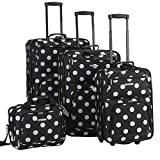 Best luggage sets - Rockland Luggage Dots 4 Piece Luggage Set, Black Review