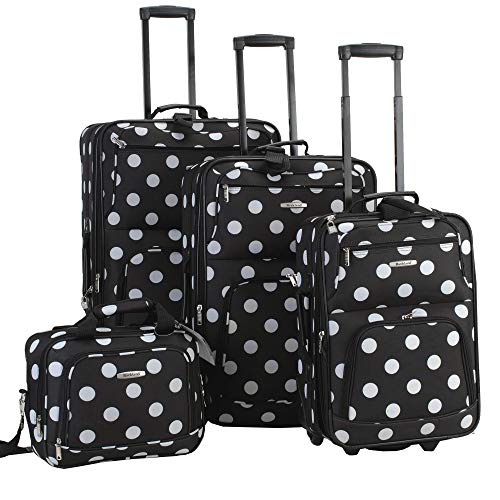 Rockland Luggage Dots 4 Piece Luggage Set, Black Dots, One - Cute Luggage