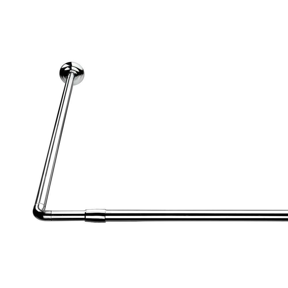 Croydex L Shaped Telescopic Silver Shower Curtain Rail 1400mm