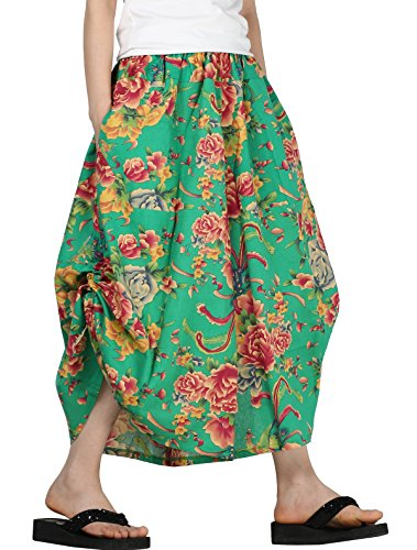 Waist Pocket Two Elastic (Mordenmiss Women's New Elastic Waist Wide Leg Pants with Pockets (Style 2-Peony Flower Green))