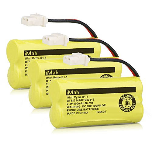iMah Ryme B1-1 BT183342 BT283342 Cordless Phone Batteries for Vtech CS6114 CS6719-2 AT&T EL51203 Handset Telephone (Pack of 3) (Battery Bt283342 Cordless Phone)
