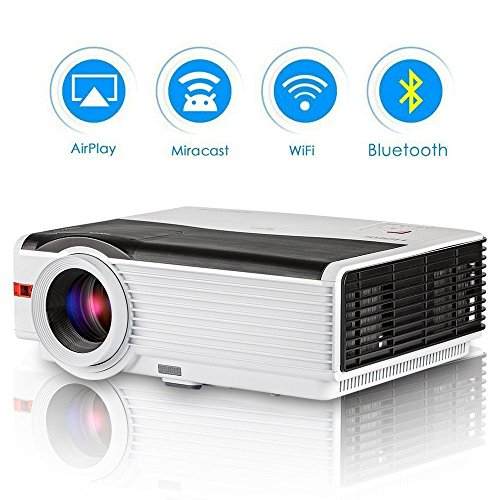 HD Projector WiFi Bluetooth High Brightness 4200 Lumen LCD Home Theater Projector Support 1080P WUXGA Airplay HDMI for iPhone Laptop DVD Player Outdoor Movies Games
