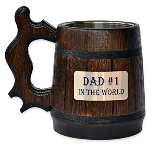 Handmade Dad #1 - Wood Beer - Mug NON-PERSONALIZED 0.6L 20oz Natural Stainless Steel - Cup Men - Eco-Friendly Wooden Tankard Souvenir Retro Brown - Engraved Stainless Steel Tankard