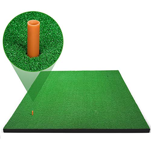Forbidden Road Golf Practice Hitting Grass Mat with 2 Golf Tee Holes & 1 Golf Tee Rough Indoor Backyard Golf Pad Residential Golf Hitting Mat for Golf Swing Practice Training Putter Balls (5ft x 5ft)