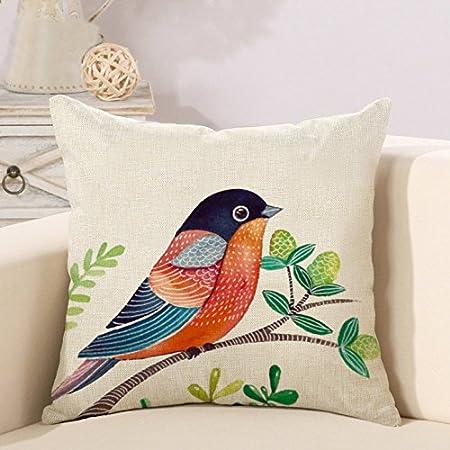 Cuscini Piccoli.2 Fodere Per Cuscino Piccoli Fiori E Uccelli Dipinti A Mano In