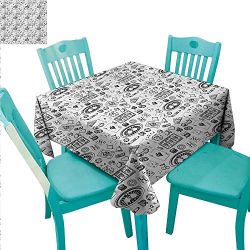 (Casino Elegant Waterproof Spillproof Polyester Fabric Table Cover Hand Drawn Style Monochrome Pattern with Roulette Cards Cigar Whisky Chip Money Runners,Gatsby Wedding,Glam Wedding Decor,Vintage)
