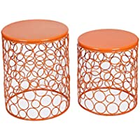 DecentHome Home Accent Nesting Side End Coffee Table Circle Pattern Orange Set of 2