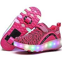 edv0d2v266 LED Light Up Shoe Fashion Sports Flashing Sneaker Single Wheel Roller Skate Shoes Fashion Sports Flashing Sneaker Boys Girls Kid (Pink 2wheels 38/7 B(M) US Women / 5 D(M) US Men)
