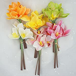 Lily Garden 4 Stems Real Touch Artificial Cymbidium Orchid Bundle Flower 3