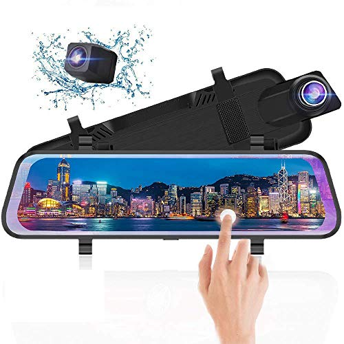 10 Inch Touch Screen Front 1080P Rear View 1080P Dual Lens 170 Degrees Wide Angle with Backup Camera G-Sensor Parking Monitor Night Vision j Junsun Mirror Dash Cam Front and Rear