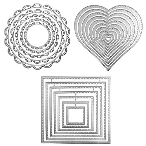 3 Different Shapes of Cutting Dies Stencil Metal Template Molds (Square, Circle Flower & Heart), DaKuan 24 Pieces Embossing Tools for Scrapbook, Album Paper DIY Crafts & Card Making