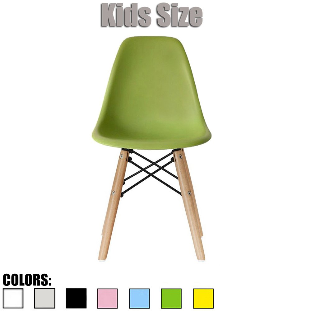 2xhome - Green - Kids Size Eames Side Chair Eames Chair Green Seat Natural Wood Wooden Legs Eiffel Childrens Room Chairs No Arm Arms Armless Molded Plastic Seat Dowel Leg