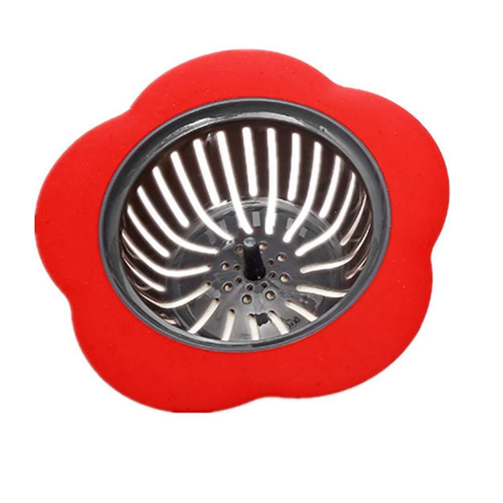 LiPing 4.5×1.5in Kitchen Water Sink Strainer Bathroom Drain Hair Catcher Bath Stopper Plug Sink Strainer Filter Shower (Red)