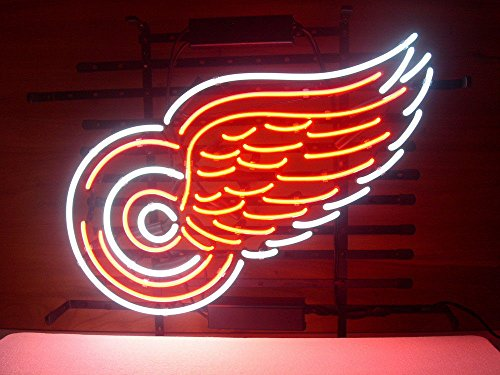 Urby® RED WINGS MAN CAVE Real Glass Neon Light Sign Home Be