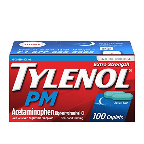 - Tylenol PM Extra Strength Pain Reliever & Sleep Aid Caplets with 500 mg of Acetaminophen, 100 ct