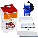 Canon RP-108 High-Capacity Color Ink/Paper Set includes 108 Ink Paper Sheets + 2 Ink Toners for SELPHY CP1300, CP1200, CP1000, CP910 & CP820 Printers + HeroFiber Ultra Gentle Cleaning Cloth