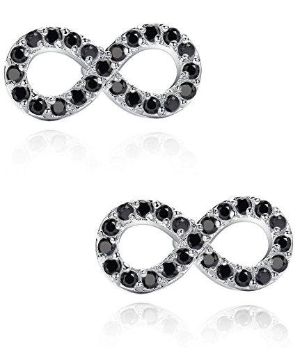 Boucles d'oreilles pour les femmes, débordement avec zircone cubique (noir)