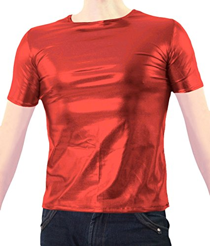 Marvoll Unisex Shiny Party Clubbing Dance Gay Stag / Hen T Shirt (Large, Red) (Real Spiderman Outfit)