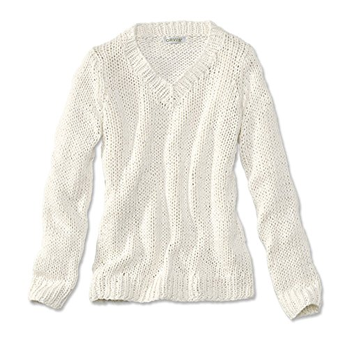 Orvis Women's Handknit V-neck Cotton Pullover Sweater, Snow, Medium (Orvis Cotton Cardigan)