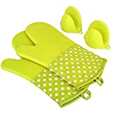 KEDSUM Heat Resistant Silicone Oven Mitts, 1 Pair of Extra Long Potholder Gloves with Bonus 1 Pair of Mini Cooking Pinch Grips, Non-Slip Cotton Lining Kitchen Glove for Baking, Barbeque, Green