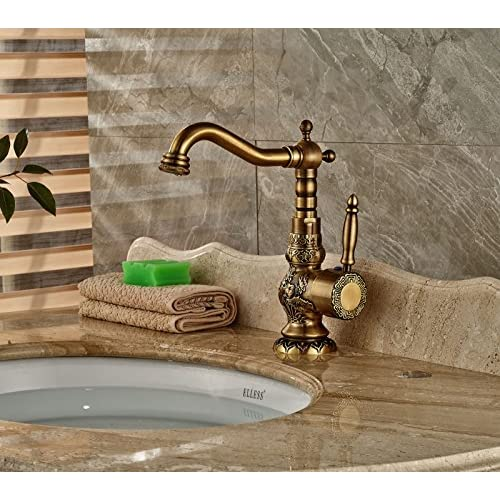 Rozin® Classical Art Carved Swivel Spout Bathroom Sink Faucet Single Hole Deck Mount Basin Mixer Tap Antique Brass 70%OFF