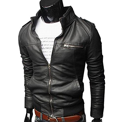 Price comparison product image Yaheeda Men's Casual Stand Collar Slim PU Leather Motorcycle Rider Faux-Leather Jacket Coat Jacket
