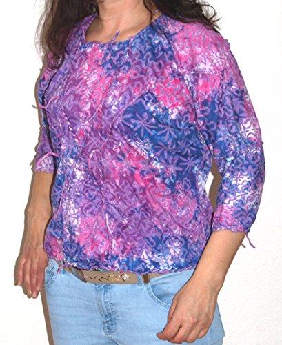 HIMALAYA Batik Top Nr. 2 Größe L Baumwolle Butterfly-Ärmel Schnür-Applikationen