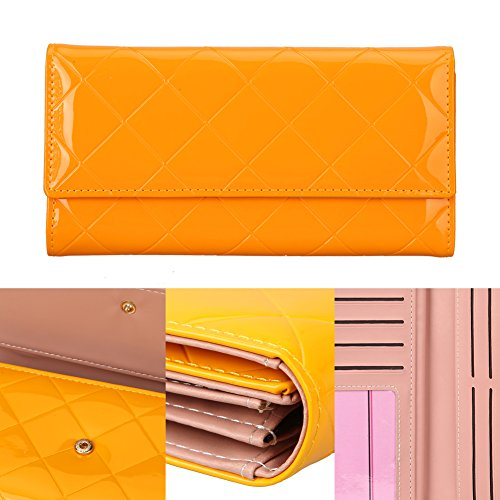 JD Million shop PU Leather Women Wallet Long Purse Vintage Solid PU Leather multiple Cards Holder