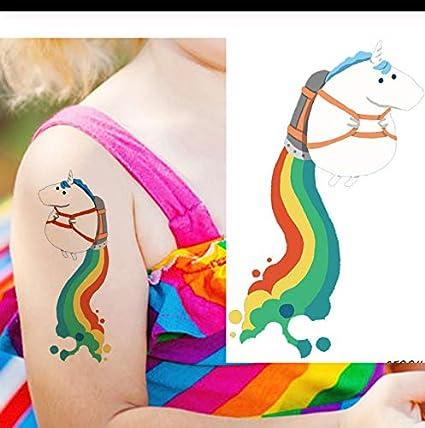 LFVGUIOP Flash Rainbow Unicornio Caballo Tatuajes Temporales ...