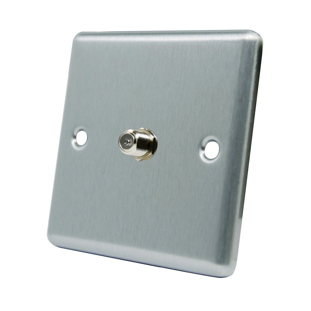 AET CSC1GSKY Satin Chrome Classical 1 Gang Sky F Type Socket for Satellite Outlets