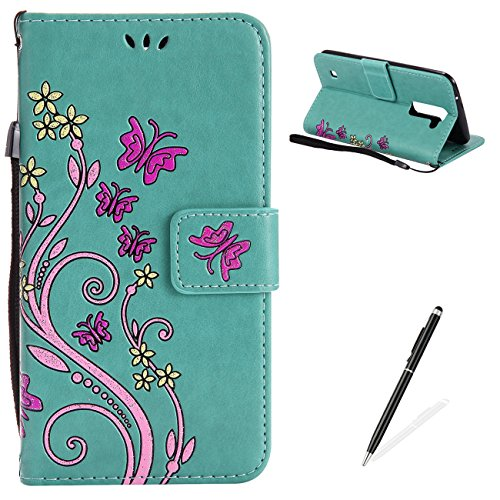 Ballet Embossed Wallet - LG K10 Case,MAGQI Premium Slim Fit Flip PU Leather Stand Wallet Book Style Case with Card Slots Magnetic Closure Embossed Rose Flower Butterfly Pattern Cover - Green