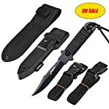 BOffer Scuba Diving Knife Fixed Blade with Nylon and ABS Sheaths - Black Tactical Sharp knives with Edge Line Cutter,Sawing Edge,2 Pairs Leg Strap for Divers Dive,Snorkeling (Black arc)