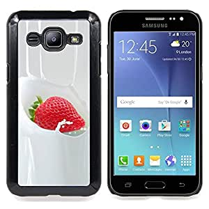 "Qstar Arte & diseño plástico duro Fundas Cover Cubre Hard Case Cover para Samsung Galaxy J2 / J200 (Strawberry crema dulce postre Bayas"")"