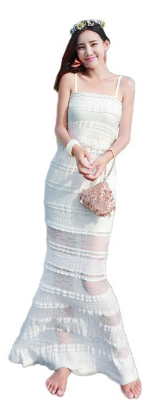 Bigood Mode Damen Langes Kleid Strandkleid Sommer Maxirock Weiss