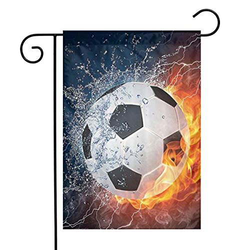 Soccer Ball On Fire and Water Flame Splashing Thunder Lightninga08b892fcc218786c84 Designs Seasonal Garden Flags,Spring Summer Yard Outdoor Decorative,12-inch X 18-inch -