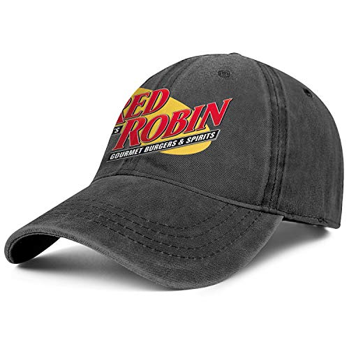 Unisex Man Denim Baseball Hat Adjustable Mesh Flat Brim Red-Robin-America's-Gourmet-Burgers&Spirits-Restaurant-Flat Cap (Best Red Robin Burger)