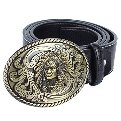 Warrior Belt Buckle - SM SunniMix Retro Men Belt Strap Native American Warrior Chief Buckle Cowboy Waist Strap - Black, as described