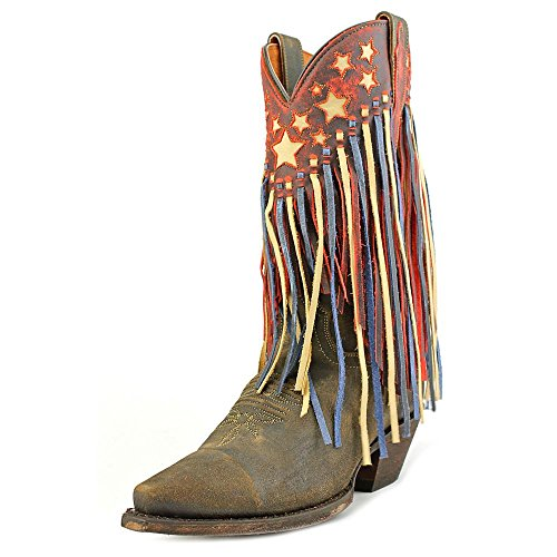 Dan Post Womens Brown Liberty Fringe Leather Cowboy Boots Stars 6.5 M