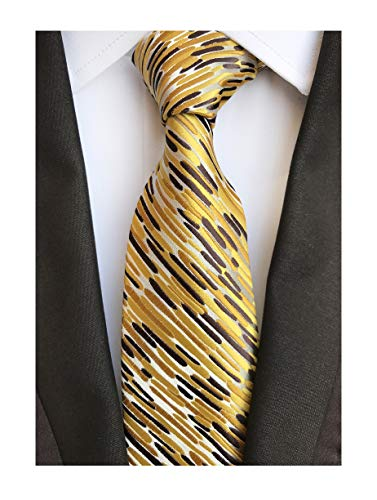 Secdtie Men's Classic Stripe Jacquard Woven Silk Tie Formal Party Suit Necktie (One Size, Gold Brown)