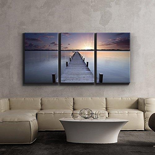 Print Contemporary Art Wall Decor Meditative calm lake scene with jetty Artwork Wood Stretcher Bars x3 Panels