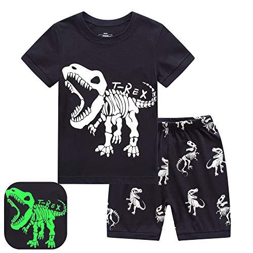 RKOIAN Little Boys Short Pajamas Sets Glow in The Dark Toddler PJS Cotton Kids Sleepwears (Black/T-Rex, 5)