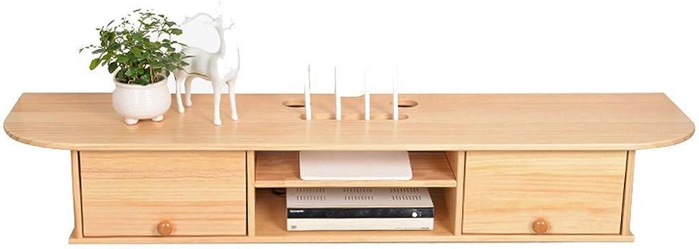 XINGPING-Shelf Estante para televisor de Madera Maciza Estante para Colgar en la Pared Decoración de la Sala Enrutador Caja de Almacenamiento Muro para TV (Color : Wood, Size : 120 * 27 *