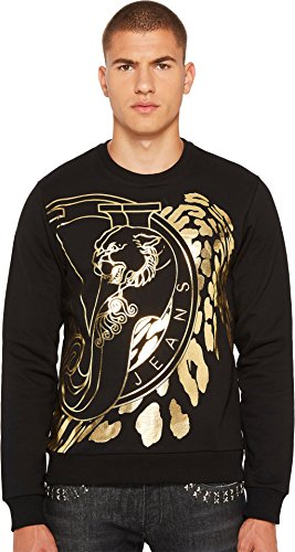 Versace Jeans  Men's Metallic Logo Sweatshirt Black/Gold - Gold Versace Logo