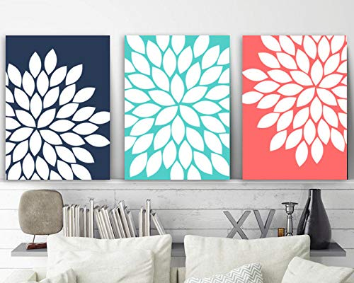 (Navy Coral Flower Wall Art Canvas or Print Coral Bathroom Decor Turquoise Bedroom Wall Decor Flower Burst Dahlias Set of 3 Home Decor 8x10 inch)