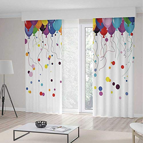 Window Curtains,Abstract,Living Room Bedroom Decor,Bunch of Various Colored Balloon Flying in The Air with Circles Party Kids Theme,2 Panel Set,104