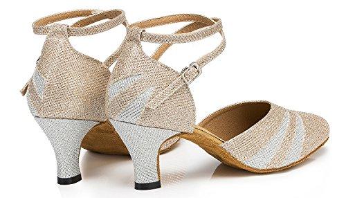 Honeystore Chaton Talon Mary Jeans Glitter Chaussures De Danse Champagne